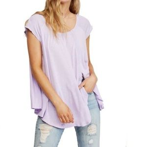 NWT Free People Keep it Casual purple tee shirt